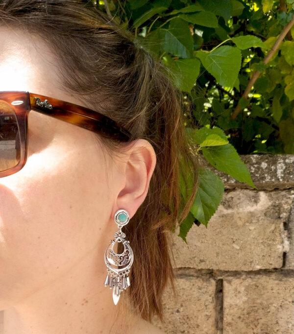 Boho σκουλαρίκια με πέτρα