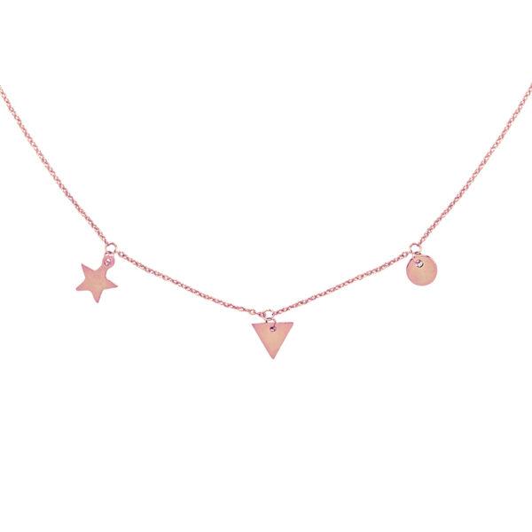 Χειροποίητο κολιέ με charms ροζ χρυσό
