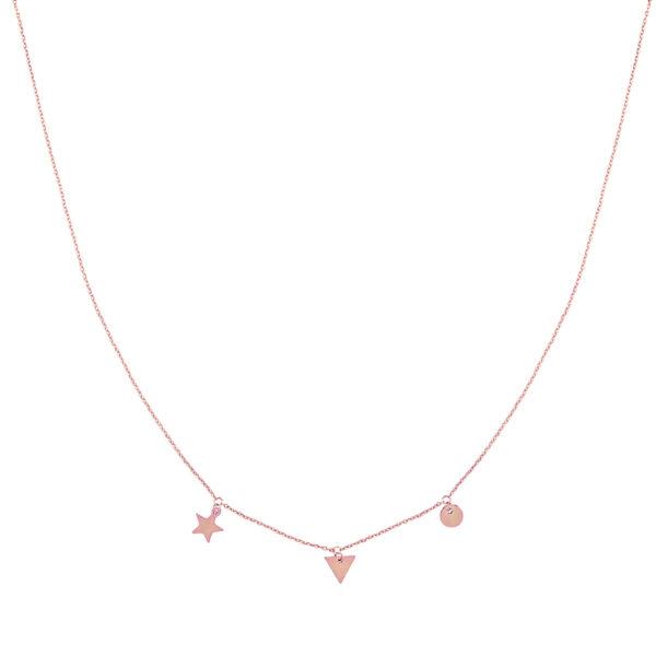 Χειροποίητο κολιέ με charms ροζ χρυσό valora